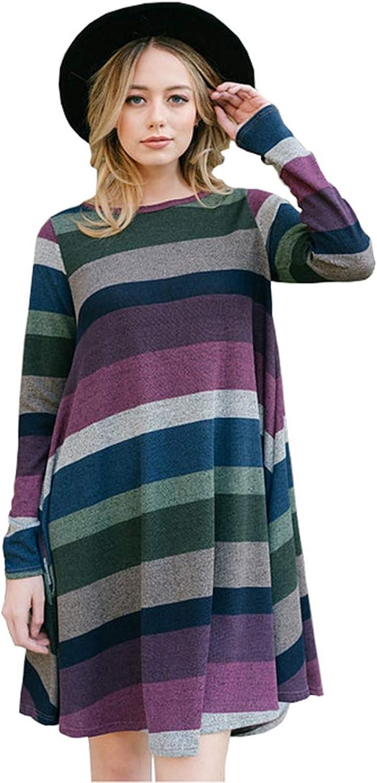 MYIFU Womens Striped Tunic for Leggings Casual Long Sleeve Swing Dress with Pockets