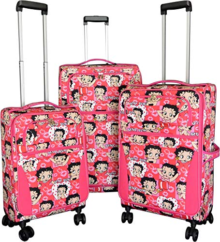 Betty Boop Softside Lightweight Luggage, Spinner Wheels, Expandable (All Heads)