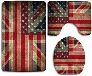 Huayuanhurug Best Design British Union Jack Flag 3PCS Flannel Non-Slip Toilet Seat Cover+Foot Pad+Bath Mat Bathroom Set Toilet Decor