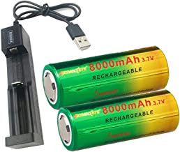 World Charger Kit with 2 x 3.7V Lithium Li-ion 26650 Rechargeable Battery