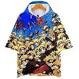 Naruto Cosplay Sudadera con Capucha de Manga Corta Video Juego Aficionados T-Shirt Pop Anime Logo Camiseta tee Tops Regalo hacia Hombre Mujer Niño Niña,Amarillo,3XL
