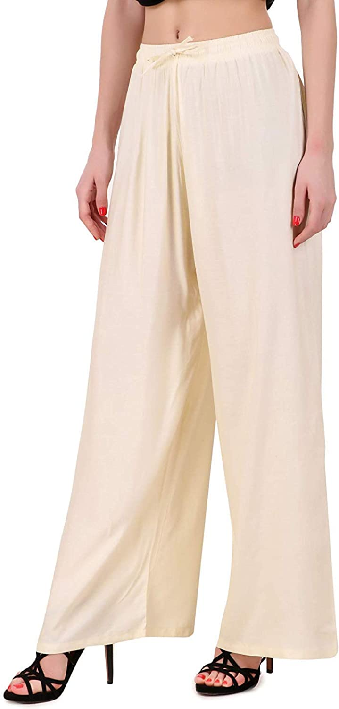 Indian Fashion Hut Solid Palazo Rayon Harem Pants Casual Trouser Elastic Waist Palazzo Legging