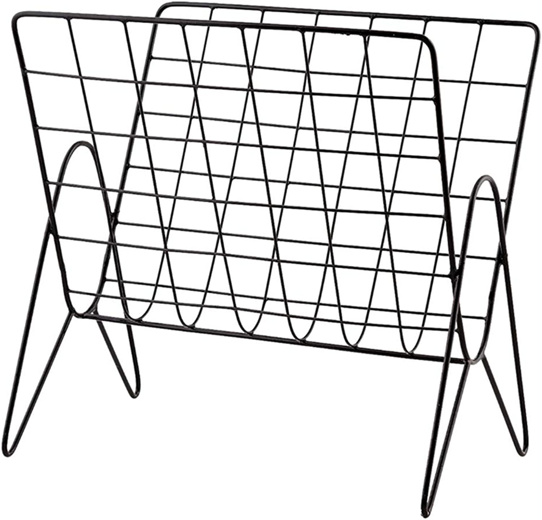 XIAOYAN Shelves Nordic Wrought Iron Metal Shelf Floor Storage Shelf Magazine Rack Black 37  27  37cm