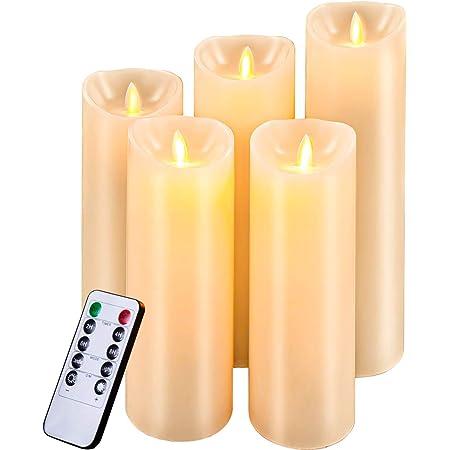 Bougies LED sans flamme v/éritable cire simul/ée goutte /à goutte LED pour d/écoration int/érieure et ext/érieure bougies chauffe-plat scintillantes en forme de larme blanc