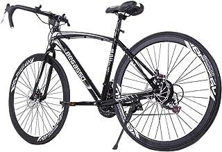 JQjian Road Bike Aluminum Full Suspension 21 Speed Disc Brakes for Man/Women