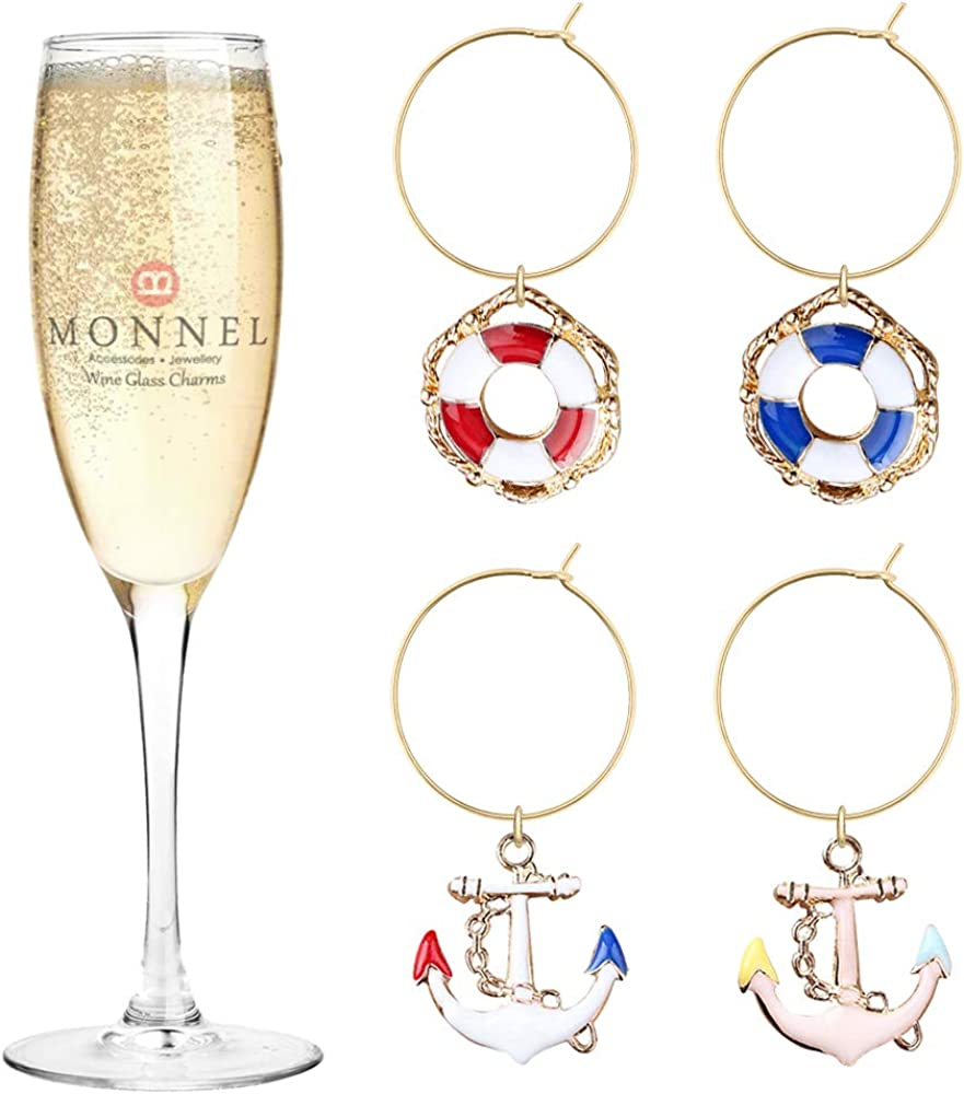 P451 Boat Anchors Wheels Wine Charms for Fixed price for sale with Party Glass Marker Choice