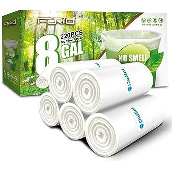 Clear Medium Garbage Bags – FORID 8 Gallon Trash Bags 30 Liter Wastebasket Bin Liners 220 Count Plastic Trash Bags for Bathroom Bedroom Office Trash Can