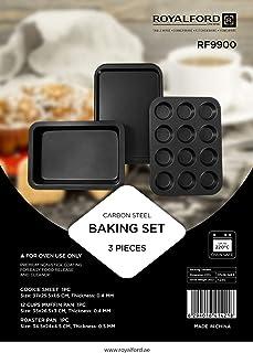 Royalford 3Pcs Non-stick Bakeware Set - Non-stick Cookie Sheet / Baking Sheet, 12Pcs Muffin Pan / Cupcake Pan & Roasting P...