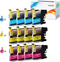 HGZ 12 Color Compatible Ink Cartridge Replacement for Brother LC103 Compatible with Brother MFC J870DW J450DW J470DW J650DW J4410DW J4510DW J4710DW J6720 (4C+4M+4Y)