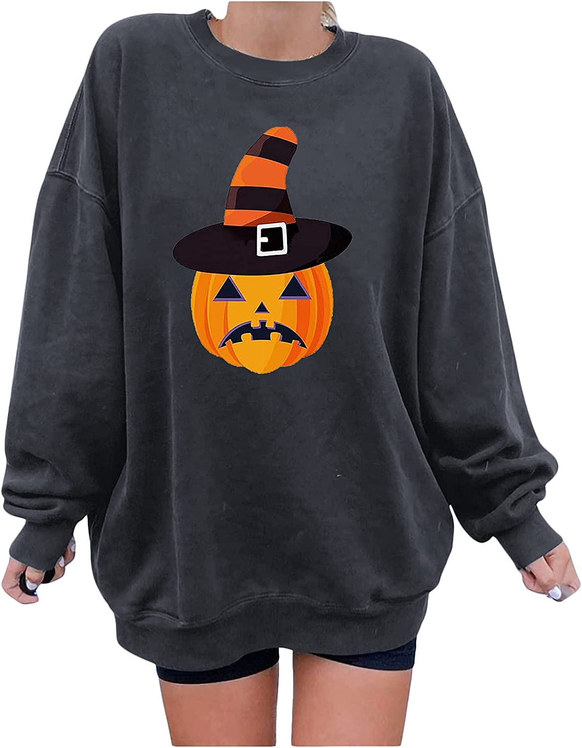 Halloween Clothes for Women Safety and trust Fall Casual High material Tr Long Neck Sleeve Crew