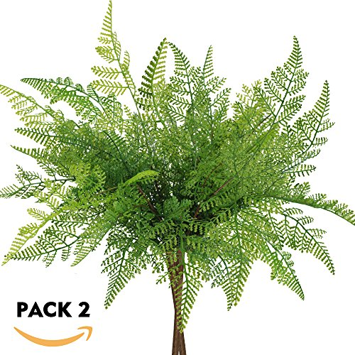 "besttoyhome 2 Pcs Artificial Ferns Plant Bush Fake Fern Leaves Outdoor Infoor in Green 16.5"" Tall X 11.8"" Wide for Garden Greenery Wedding Centerpiece Wall Decor"