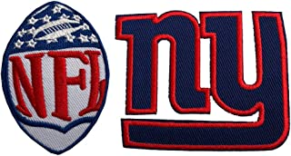 Hipatch New York Giants Embroidered Patch Iron on Logo Vest Jacket Cap Hoodie Backpack Patch Iron On/sew on Patch Set of 2Pcs