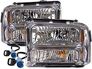 HEADLIGHTSDEPOT Chrome Halogen Headlights Compatible with Ford Excursion F-250 Super Duty F-350 F-450 F-550 Includes Driver and Passenger Side Headlamps Housing Conversion Kit MODIFICATIONS REQUIRED