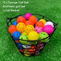 Golf Plastic Ball Hollow Sports Golf Foam Practice Golf Balls with Metal Range Bucket