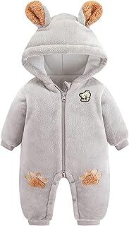 طفل الفتيان الفتيات رومبير الشتاء طفل الكرتون الدب مقنعين snowsuit الصوف بذلة ملابس الأطفال (Color : Gray, Size : 0-3 Months)