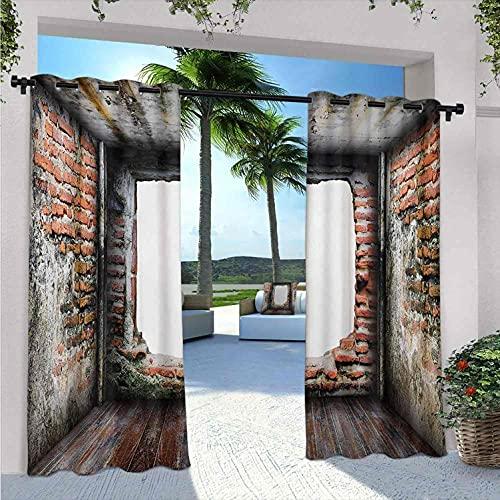 Abondoned - Tenda per gazebo impermeabile, stile vintage, con quattro pareti laterali in mattoni, per camera da letto, soggiorno, veranda, pergolato, 200 x 200 cm, colore: rosso rosso