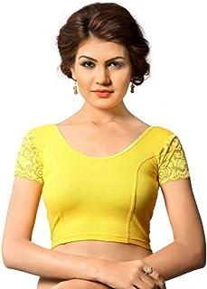 Fressia Fabrics Women's Stretchable Readymade Saree Blouse Crop Top Choli