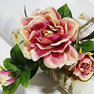 Finance Plan Fashion Artificial Gardenia Flower Wedding Party Bouquet Home Decor Gift Wrapping 1Pc 3 Heads Red
