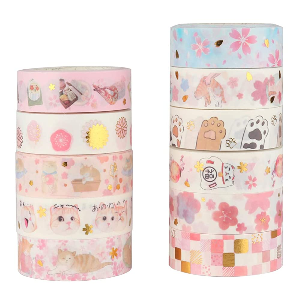 Molshine 11rolls(16.4ft/roll) Gold Stamping Washi Masking Tape Set,Adhesive Paper,Crafts Tape for DIY,Planners,Scrapbook,Object Decorative,Collection,Gift Wrapping-Cats Under The Cherry Blossoms