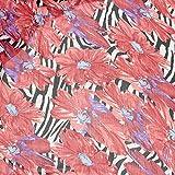 kawenSTOFFE Chiffonstoff Rot große Blumen Zebrastreifen