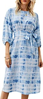 Leepesx Fashion Women Tie-dye Print Dress O Ne Half Sleeve Sashes High Waist Elegant Casual Summer Dress