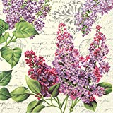 Celebrate the Home Floral 3-Ply Paper Cocktail Napkins, Lilac Letter, 20-Count
