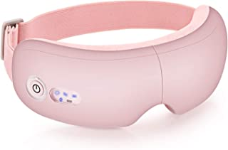 Electric Eye Massager with Heat, Air Compression, Bluetooth Music, Wireless shiatsu Eye Temple Massager for Relieving Dry Eyes, Eye Fatigue, Improving Blood Circulation and Sleep Quality-Pink