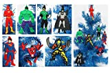 Super Hero 7 Piece Christmas Ornament Set with Flash, Hulk, Green Lantern, Batman, Superman, Spiderman, and Wolverine - Unique Shatterproof Plastic Design by Holiday Ornaments