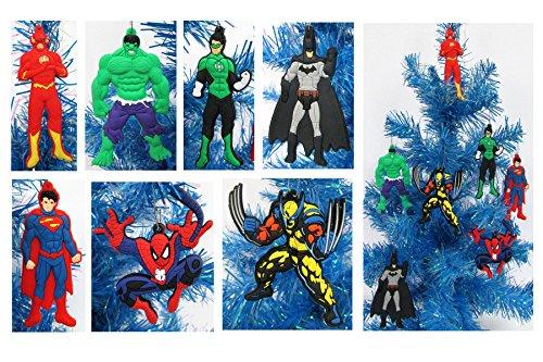 Super Hero 7 Piece Christmas Ornament Set with Flash, Hulk, Green Lantern, Batman, Superman, Spiderman, and Wolverine - Unique Shatterproof Plastic Design by Holiday Ornaments
