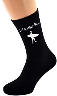 I'd Rather Be Surfing with Surfboard and Board Image Printed on Black Cotton Rich Socks