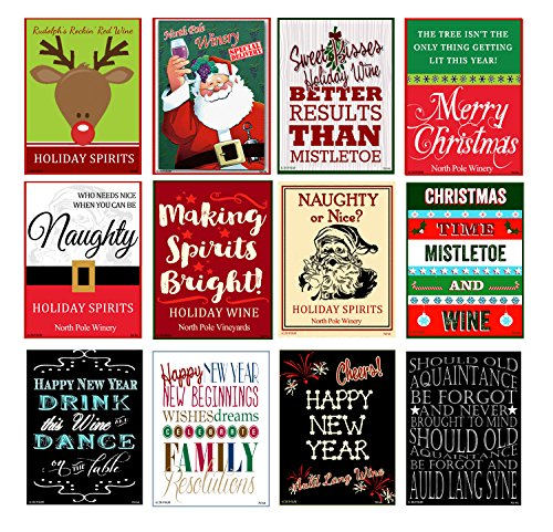 Set of 12 Holiday, Christmas and New Years Wine Bottle Labels - 5 Inch X 4 Inch
