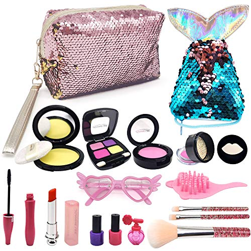 ASPPOPO Pretend Makeup for Girls,Childs Makeup Set for Princess Play Makeup Kids Makeup Toy with Cosmetic Bag Mermaid Tail Coin Purse Age 3, 4, 5, 6, 7 Girls Gift