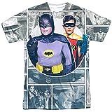 Batman Classic TV Series Robin Penguin Panels Adult Front Print T-Shirt White