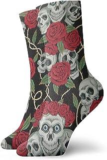 Dydan Tne, Intage Red Rose Skull Dress Calcetines Divertidos Crazy Socks Calcetines Casuales para niñas niños