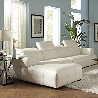 Darby Sectional Sofa with Wide Chaise White