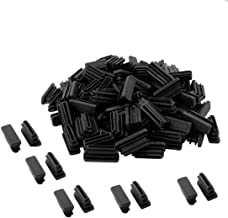 Saim Plastic Round Tube Ribbed Inserts End Cover Caps Floor Furniture Square Chair Cabinet Protector Tube Insert Chair Leg Cap Rectangle Plastic Tubing Plug 80Pcs OD Rectangle 10mm x 30mm Black