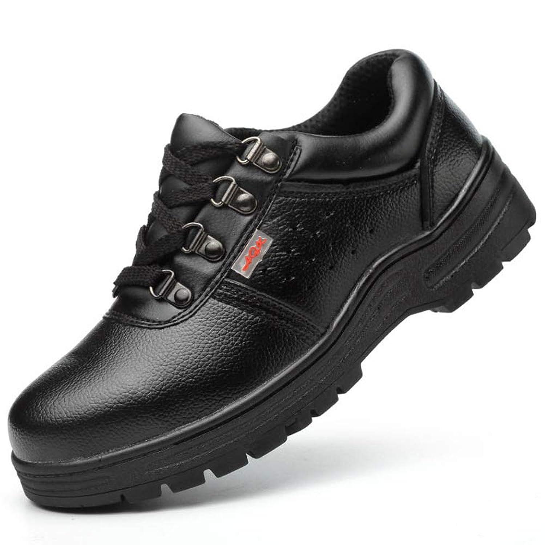 [Florai-JP] メンズ スニーカー ミドルカット レースアップ 安全靴 作業靴 レザー つまさき保護 先芯入り 耐滑 耐油性 踏み抜き防止 刺す叩く防止 防臭加工 通気性 鋼製ミッドソール 耐磨耗 衝撃吸収 ブラック 黒