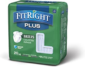 FitRight Plus Adult Diapers, Disposable Incontinence Briefs with Tabs, Moderate Absorbency, Large, 48