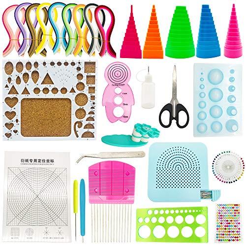 ENGESTON Papier Quilling Kit, 20 Papier Quilling Werkzeuge, 900 Streifen 40 Farben 5x390mm Papier Quilling Streifen für Quilling DIY Handwerk, Papier Kunsthandwerk, Papier Blumenherstellung
