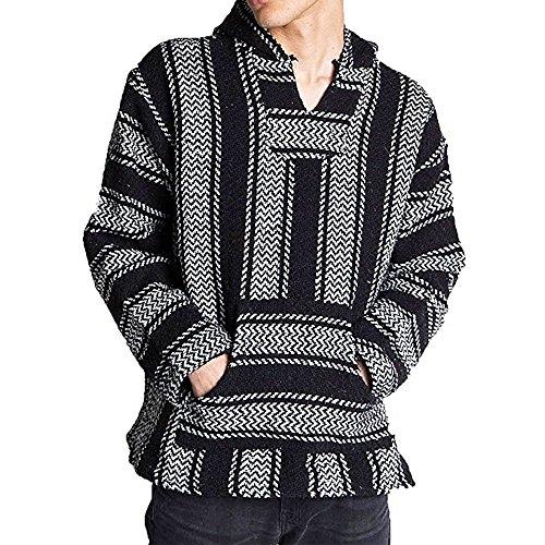 Baja Joe Striped Woven Eco-Friendly Jacket Coat Hoodie (Black, XL)