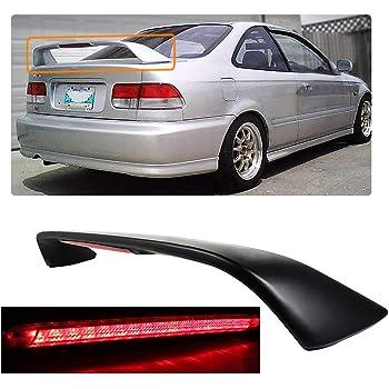ZXMOTO Trunk Spoiler Wing w//LED Brake Light ABS Matte Black Rear Spoiler Wing for 1996 1997 1998 1999 2000 6th Gen Honda Civic 2 Door Si