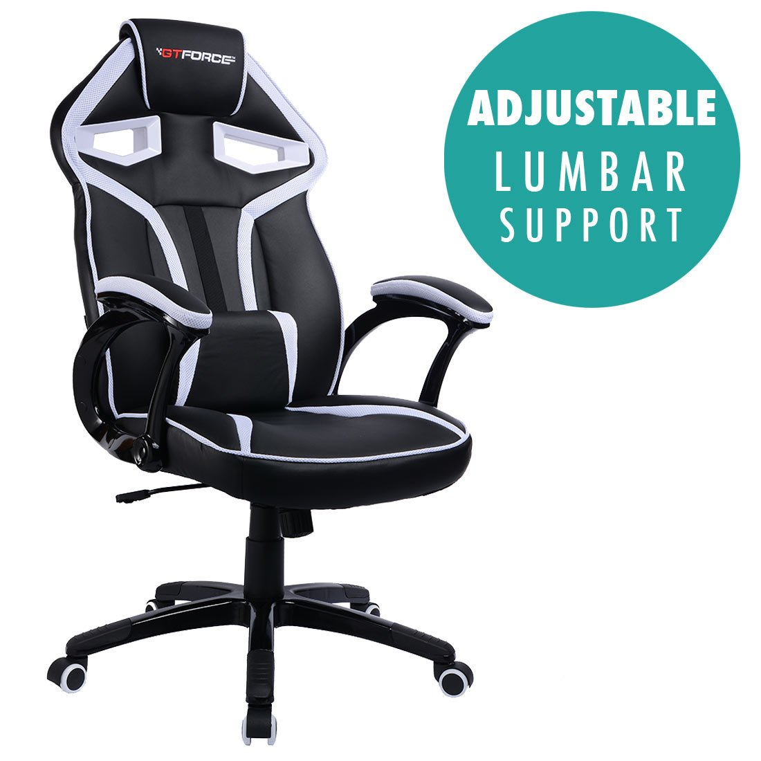 Adjustable ARMS Gaming Desk Bucket GTFORCE Roadster 2 Sport Racing CAR Office Chair Faux Leather White