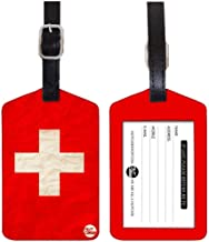 Nutcase Travel Baggage Set Of 2 Pu Leather Tags Swiss