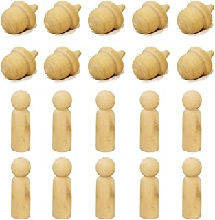 Famgift Unfinished Wooden Peg Doll Bodies 10pcs Acorns and 5pcs Blank Decorative People Shapes Wooden Doll People Arts and Crafts Children Kid Graffiti Drawing Toy