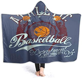 prunushome Hooded Blanket College Basketbgraphi Design Art Kids Huggable Pillow and Blanket Perfect for Pretend Play, Travel, nap time, 80W by 60H Inches