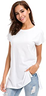 Womens Loose Fitting Side Slit Tops Tunic Short Sleeve Causal T Shirts