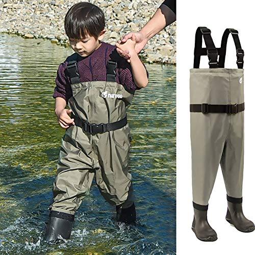 NEYGU アウトドア 子ども用チェストハイウェーダー ネオプレン胴付長靴 強力防水通気 釣り用フィッシングウェーダー ストッキング ユニセックス 4色6サイズ選択可 (ダークグリーン, 8-9T)