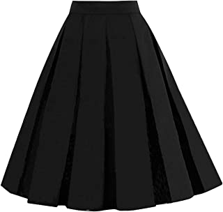2449384d06 Girstunm Women's Pleated Vintage Skirt Floral Print A-line Midi Skirts with  Pockets