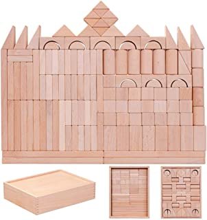 Wooden Building Blocks Educational Toy Sets, 128 Pcs Stacking Game Toys With Wooden Storage Box/Castle Building Planks Set...
