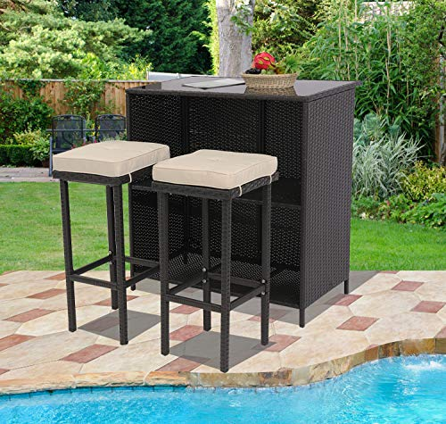 HTTH Outdoor Bar Set 3-Piece Expresso Wicker Patio Furniture - Glass Bar and Two Stools with Removable Cushions for Backyards, Gardens or Poolside with Happy Life (Beige)